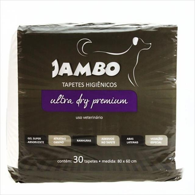 tapete higiênico jambo ultra dry premium para cães - 30 unidades