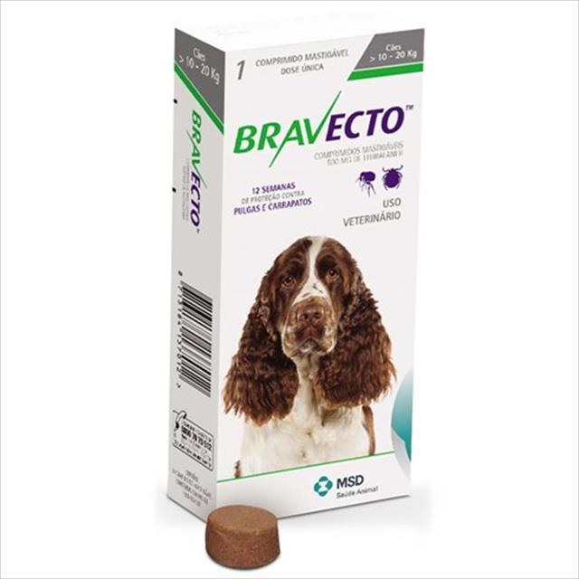 anti pulgas e carrapatos bravecto para cães de 10 a 20 kg - 500 mg
