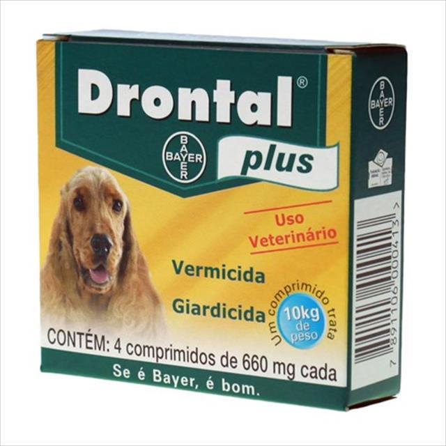 vermífugo drontal plus cães - 4 comprimidos