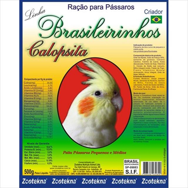 alimento zootekna brasileiro calopsita - 500g
