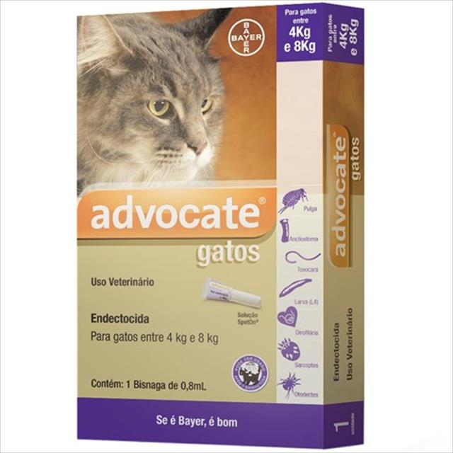 anti pulgas bayer advocate com 0,8 ml para gatos de 4 a 8 kg anti pulgas bayer advocate com 0,8 ml para gatos - de 4 a 8 kg