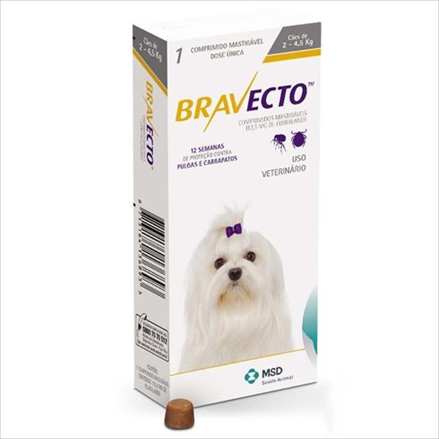 anti pulgas e carrapatos bravecto para cães de 2 a 4,5 kg - 112,5 mg