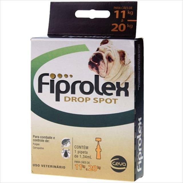 anti pulgas e carrapatos ceva fiprolex drop spot para cães de 11 a 20 kg