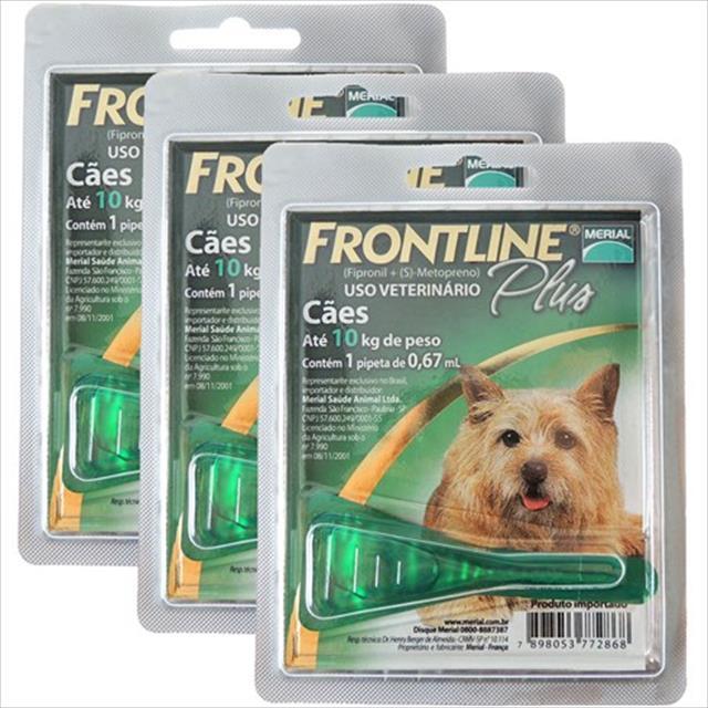 anti pulgas e carrapatos frontline plus para cães de 1 a 10 kg tam p - compre 2 e leve 3