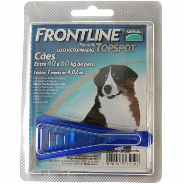 anti pulgas e carrapatos frontline top spot para cães - tam gg de 40 a 60kg
