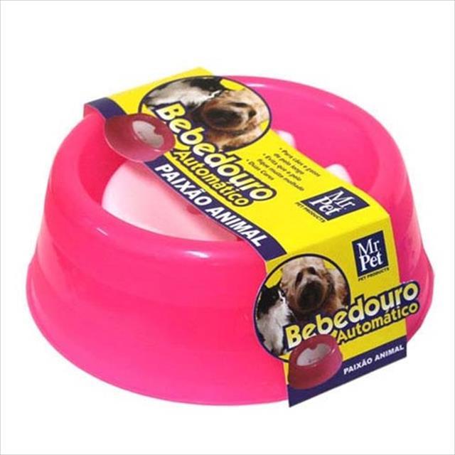 bebedouro mr pet automático para cães e gatos de 1000ml - rosa