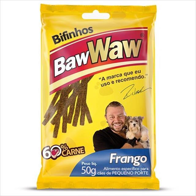 bifinho baw waw de frango para cães de porte pequeno - 50 g