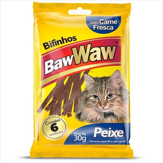 bifinho baw waw de peixe para gatos - 30 g