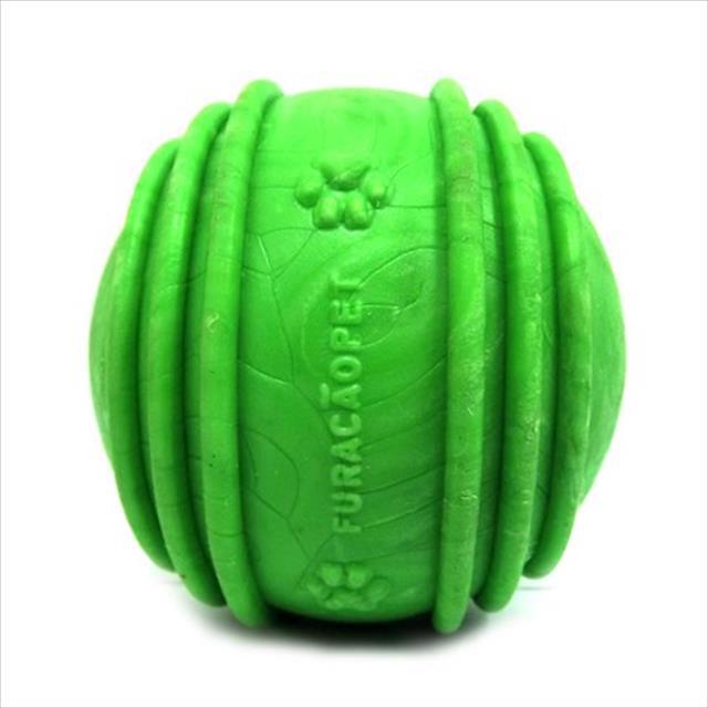 bola maciça com friso furacão pet - verde bola maciça com friso super big verde furacão pet - 90mm
