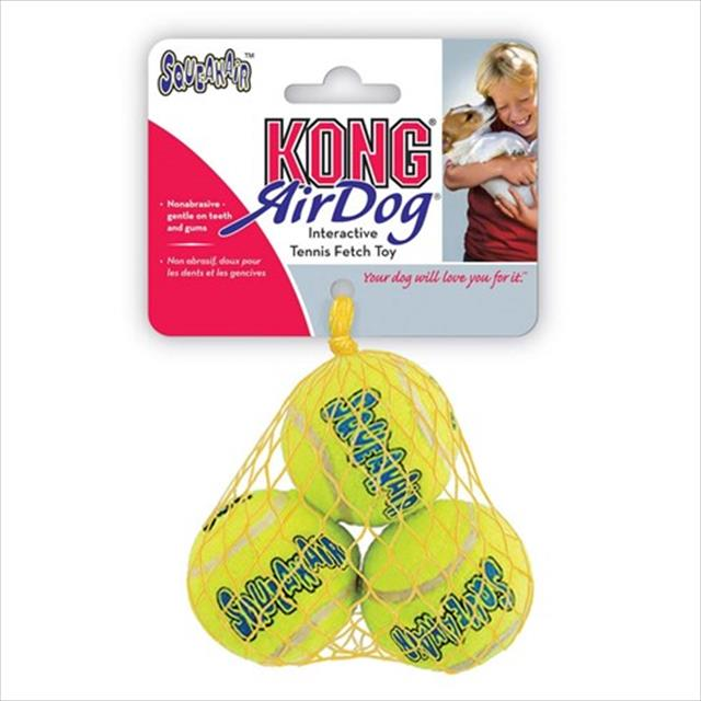 brinquedo kong squeaker bola de tênis ast2 3 unidades - médio