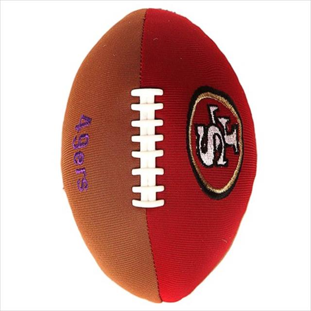 brinquedo mordedor bola de futebol americano - marrom com vermelho