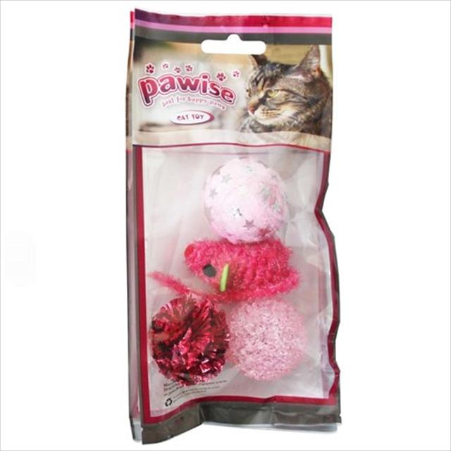 brinquedo pawise kit para gatos com 4 unidades - cores sortidas
