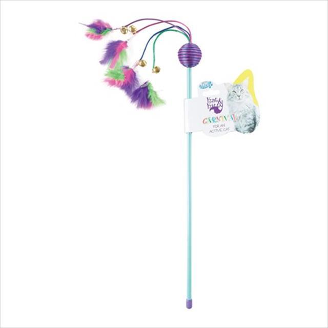 brinquedo vara com bolinha e pluma carnival para gatos
