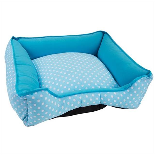 cama baw waw luxo para cães - azul com poá branco cama baw waw luxo para cães azul com poá branco - tam m