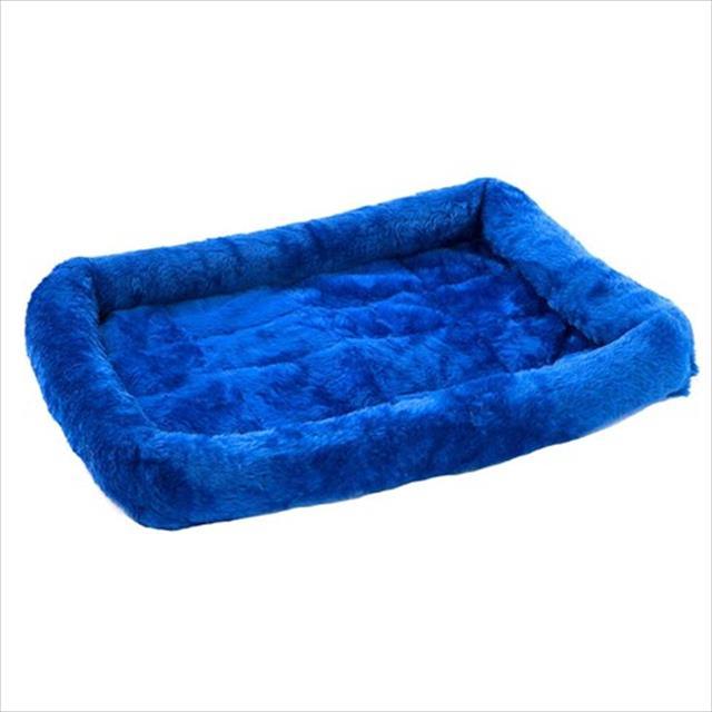 cama baw waw para cães e gatos de pelúcia azul - tam g