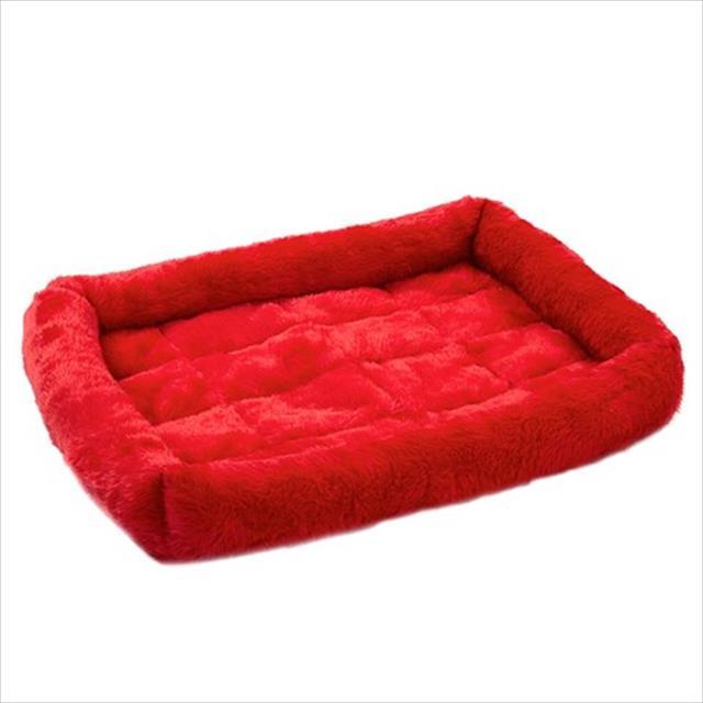 cama baw waw para cães e gatos de pelúcia vermelho - tam g