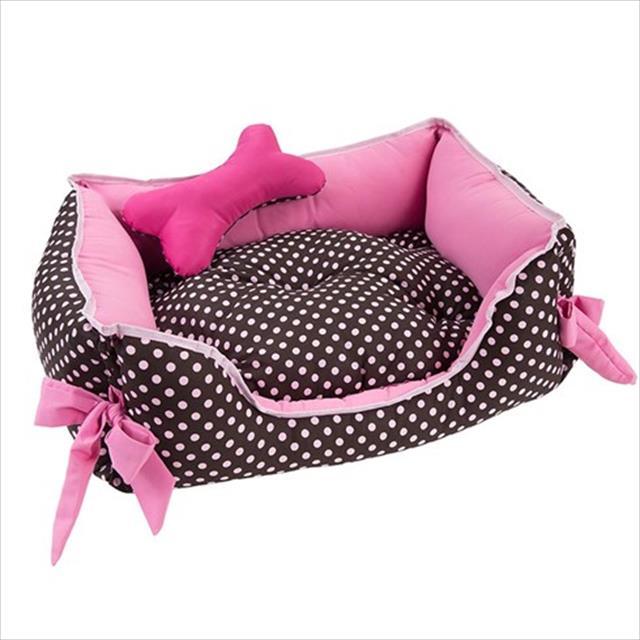 cama retangular baw waw para cães rosa e marrom com poá rosa - tam g