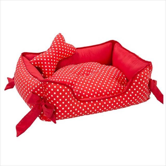 cama retangular baw waw para cães vermelho com poá branco - tam m