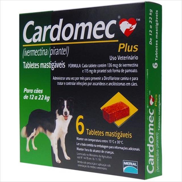 cardomec plus verde cães de 12 a 22 quilos - 6 tabletes