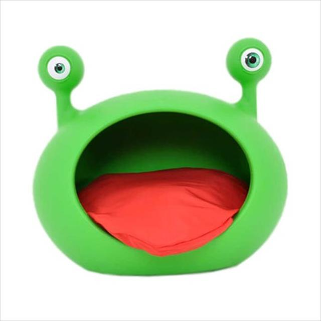 casa monster cave verde com almofada vermelha