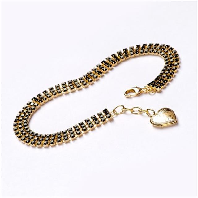 colar strass preto feminino dourado - tam m