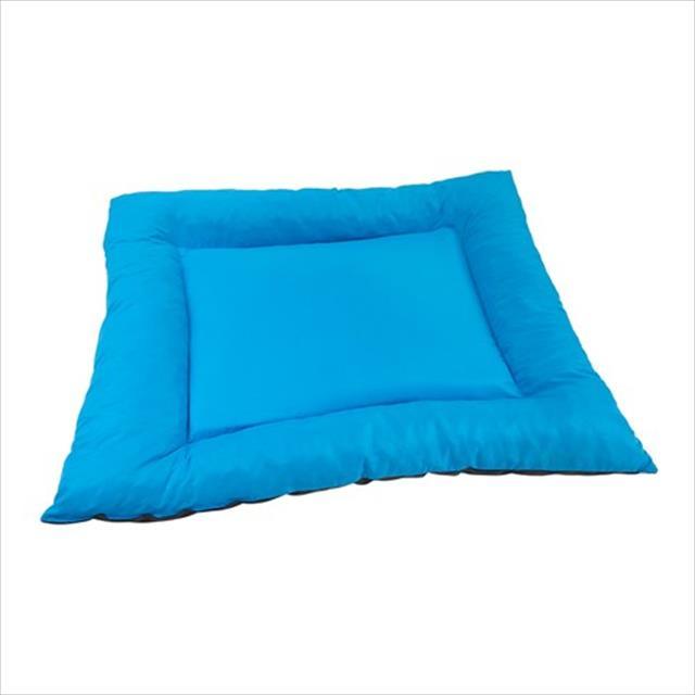 colchonete baw waw para cães com bordas de flocos azul - tam g