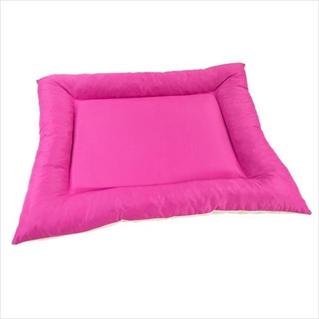 colchonete baw waw para cães com bordas de flocos rosa - tam p