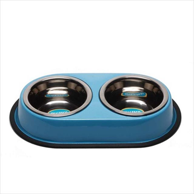 comedouro duplo chalesco de inox - azul comedouro duplo chalesco de inox azul - 960 ml