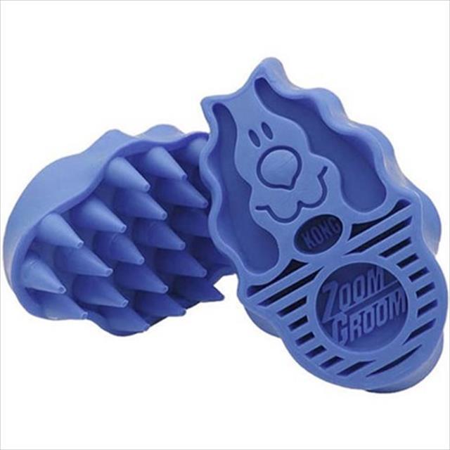 escova kong zoomgroom boysenberry zg2 para raças pequenas - azul