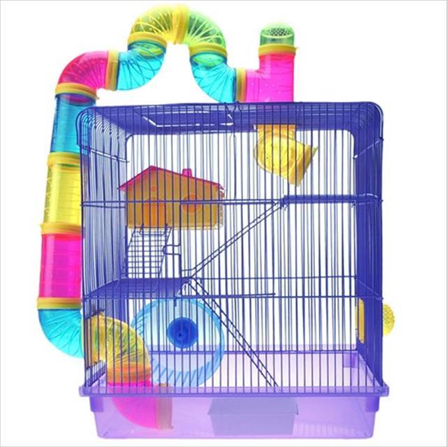 gaiola hamster 3 andares + labirinto caninos brancos - lilás