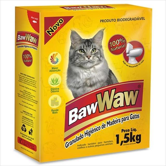 granulado higiênico baw waw de madeira- 1,5 kg