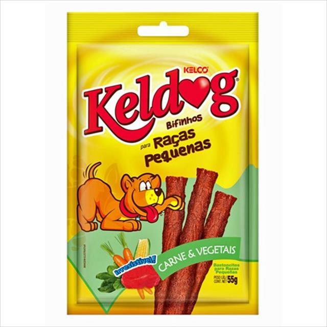bifinho keldog sabor carne e vegetais raças pequenas - 55 g