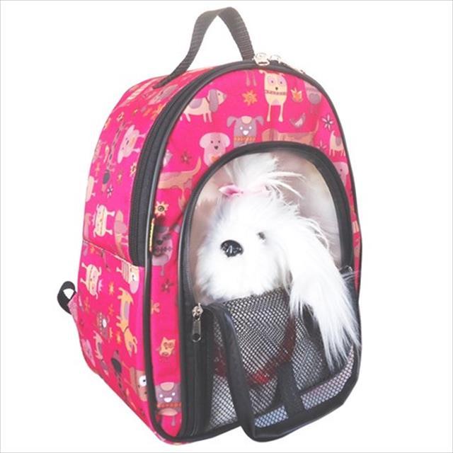 mochila de transporte keep pet com zíper - rosa