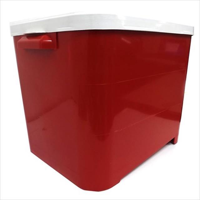 porta ração furacão pet para armazenar até 15kg - vermelho