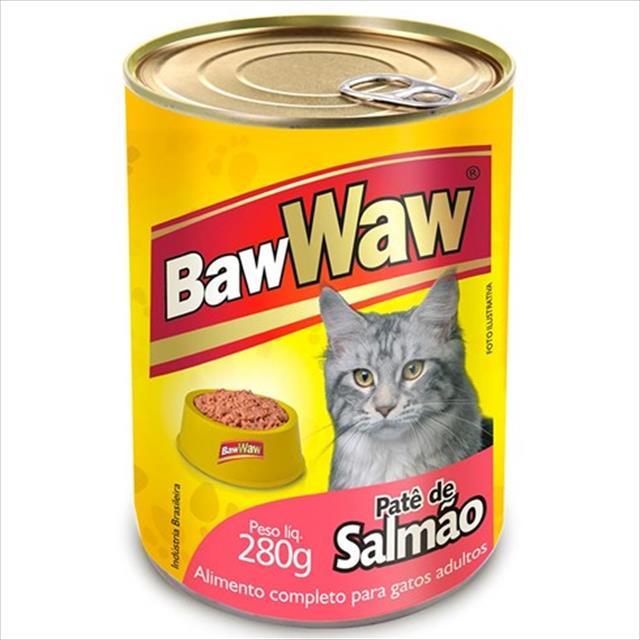 ração baw waw em lata para gatos patê de salmão - 280 g