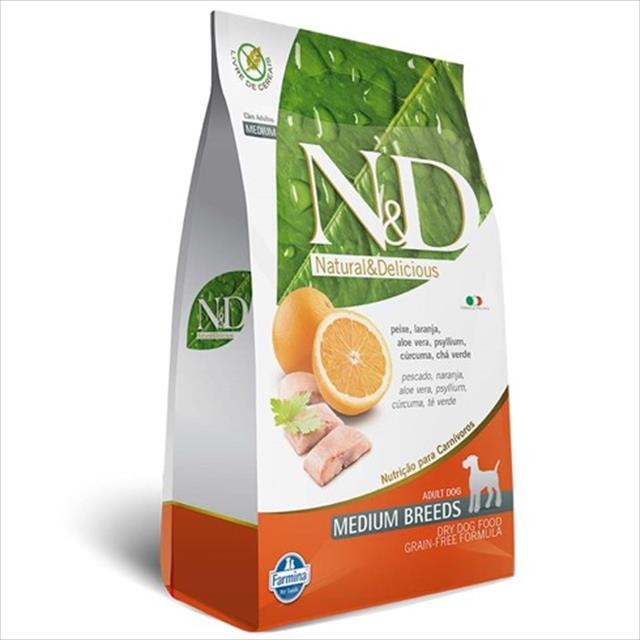 ração farmina n & d grain free peixe para cães adultos de raças médias - 2,5 kg