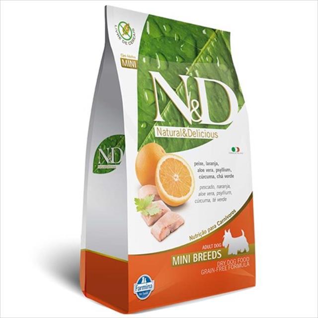 ração farmina n & d grain free peixe para cães adultos de raças pequenas - 800 g