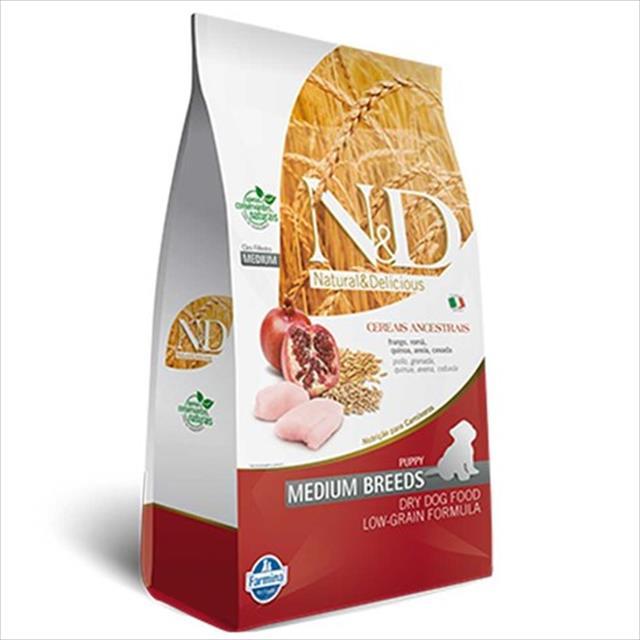 ração farmina n & d low grain frango para cães filhotes de raças médias - 2,5 kg