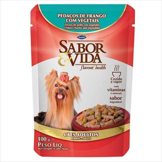ração guabi sabor e vida sachê cães adultos frango com vegetais - 100gr