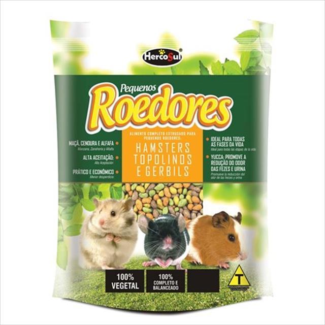 ração hercosul premium para pequenos roedores hamsters, topolinos e gerbils - 500gr
