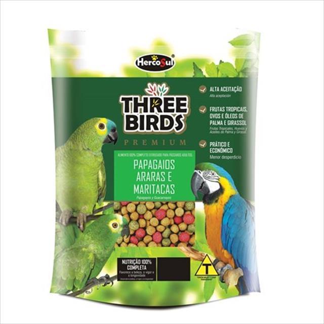 ração hercosul three birds premium para papagaios, araras e maritacas adultos - 500gr