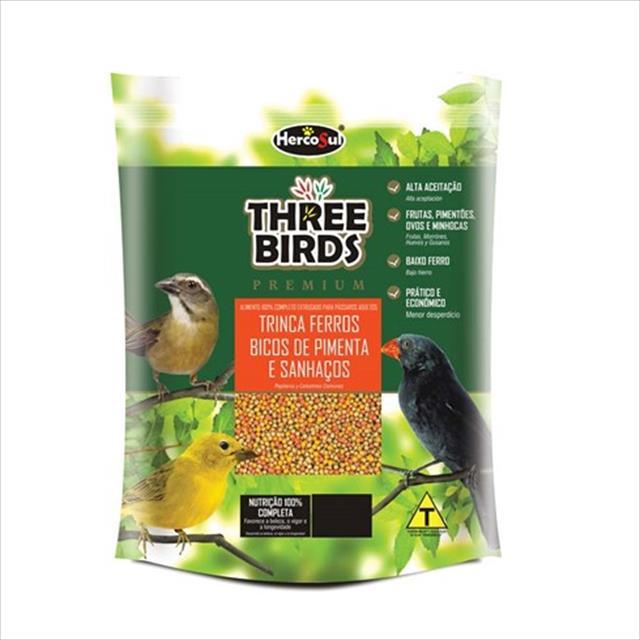 ração hercosul three birds premium para trinca ferros, bicos de pimenta e sanhaços adultos - 500gr