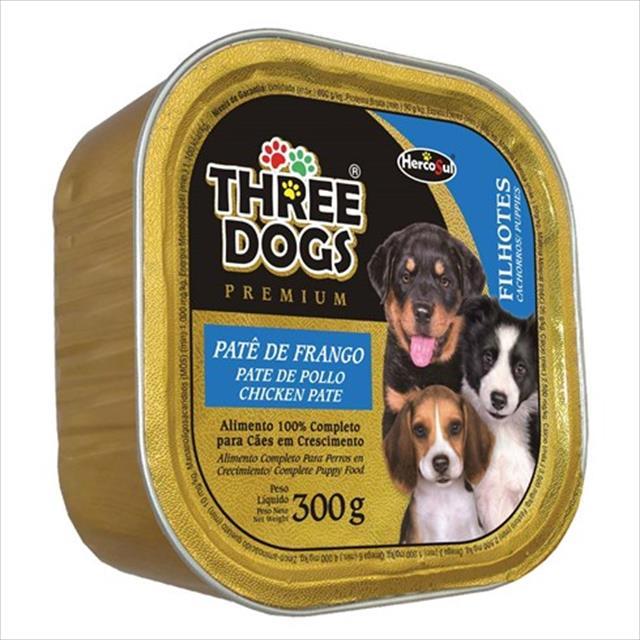 ração hercosul three dogs patê de frango para cães filhotes - 300gr