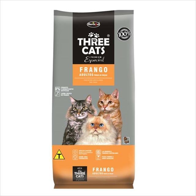 ração hercosul threecats especial frango para gatos adultos - 8kg