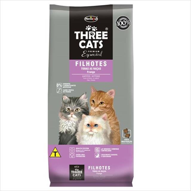 ração hercosul threecats especial frango para gatos filhotes - 8kg