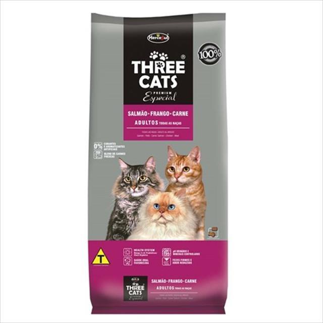 ração hercosul threecats especial salmão, frango e carne para gatos adultos - 15kg