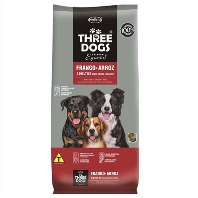 ração hercosul threedogs especial frango e arroz para adultos de raças médias e grandes - 15kg