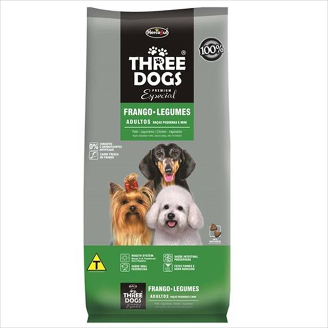 ração hercosul threedogs especial frango e legumes para adultos de raças pequenas e mini - 3kg