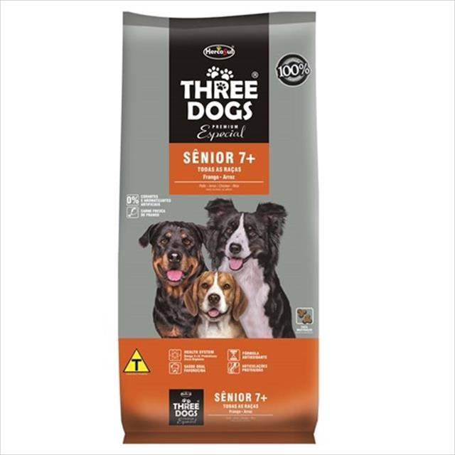 ração hercosul threedogs especial senior 7+ para cães de todas as raças com 7 anos ou mais de idade ração hercosul threedogs especial senior 7+ para cães de todas as raças com 7 anos ou mais - 3kg