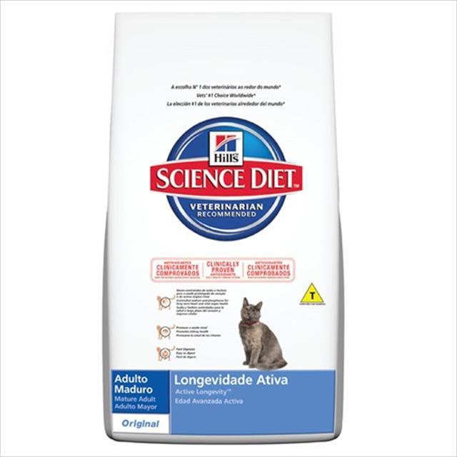 ração hills science diet feline adulto maduro longevidade ativa  - 7,5 kg